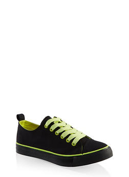 Lace Up Canvas Sneakers - BLACK MULTI - 3114062720305