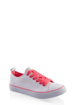 Lace Up Canvas Sneakers - WHITE MULTI - 3114062720305