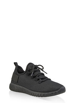 Textured Knit Athletic Sneakers | 3114062723342 - BLACK - 3114062723342