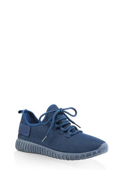 Textured Knit Athletic Sneakers | 3114062723342 - NAVY - 3114062723342