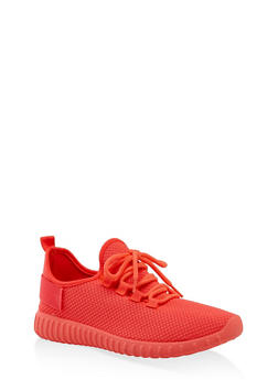 Textured Knit Athletic Sneakers | 3114062723342 - CORAL - 3114062723342