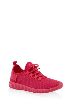 Textured Knit Athletic Sneakers | 3114062723342 - NEON PINK - 3114062723342
