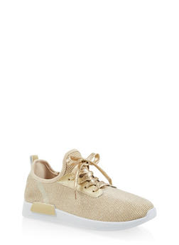 Lace Up Knit Sneakers - GOLD - 3114062723461