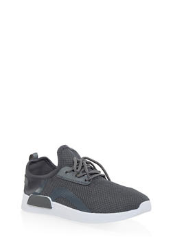 Knit Lace Up Athletic Sneakers - GRAY - 3114062723465