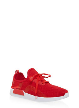 Knit Lace Up Athletic Sneakers - RED - 3114062723465