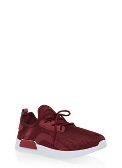 Knit Lace Up Athletic Sneakers - WINE - 3114062723465