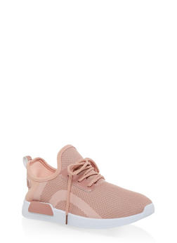 Knit Lace Up Athletic Sneakers - BLUSH - 3114062723465