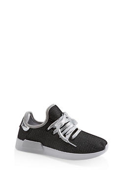 Mesh Lace Up Sneakers - SILVER - 3114062723474