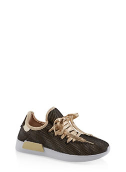 Mesh Lace Up Sneakers - GOLD - 3114062723474