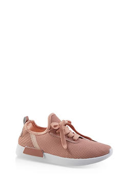 Knit Lace Up Athletic Sneakers | 3114062723476 - BLUSH - 3114062723476