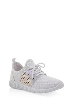 Knit Lace Up Sneakers - WHITE - 3114062723532