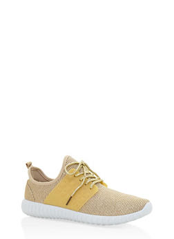 Knit Lace Up Sneakers - GOLD - 3114062723532