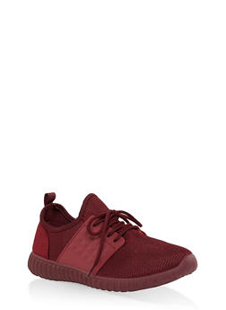 Knit Lace Up Sneakers - WINE - 3114062723533