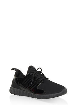 Perforated Knit Lace Up Sneakers - BLACK - 3114062723538