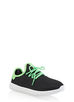 Contrast Trim Lace Up Sneakers - NEON LIME - 3114062723541