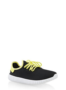 Contrast Trim Lace Up Sneakers - NEON YELLOW - 3114062723541