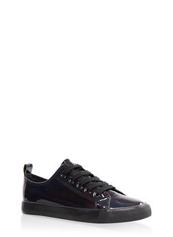 Iridescent Lace Up Sneakers - BLACK - 3114062725502