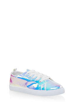 Iridescent Lace Up Sneakers - WHITE - 3114062725502