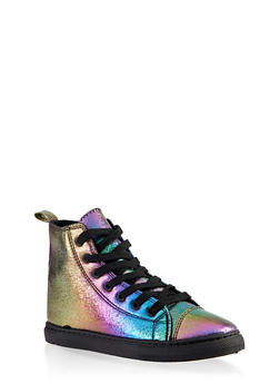 Printed Lace Up High Top Sneakers - BRIGHT MULTI S - 3114062726433