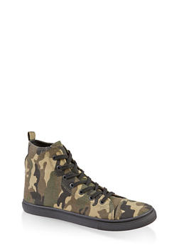 Printed Lace Up High Top Sneakers - 3114062726433