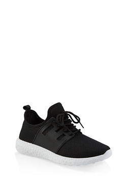 Lace Up Athletic Knit Sneakers - BLACK - 3114062729362