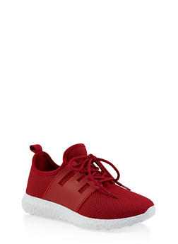 Lace Up Athletic Knit Sneakers - RED - 3114062729362