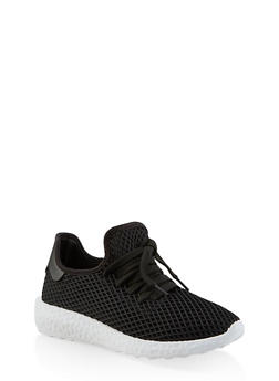 Fishnet Lace Up Sneakers - BLACK - 3114062729363