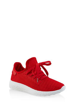 Fishnet Lace Up Sneakers - RED - 3114062729363