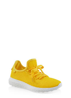 Fishnet Lace Up Sneakers - YELLOW - 3114062729363