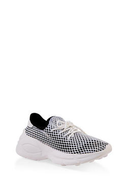 Mesh Lace Up Platform Sneakers - 3114070967866