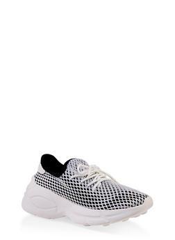 Mesh Lace Up Platform Sneakers - BLACK - 3114070967866