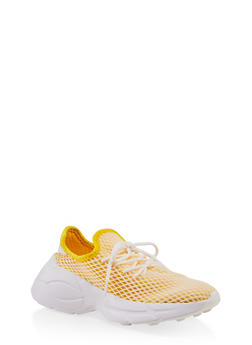 Mesh Lace Up Platform Sneakers - YELLOW - 3114070967866