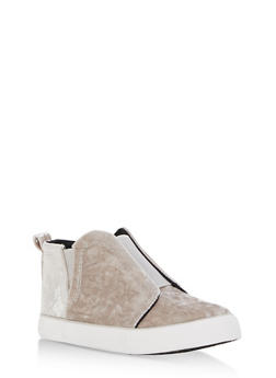 Velvet Slip On High Top Sneakers - 3114073541764
