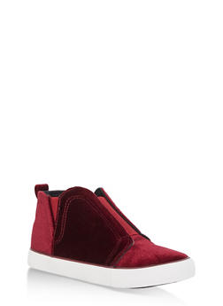 Velvet Slip On High Top Sneakers - 3114073541764