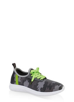 Camo Lace Up Sneakers - GRAY - 3114075795255