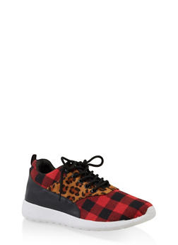 Leopard Plaid Lace Up Sneakers - RED - 3114075795266