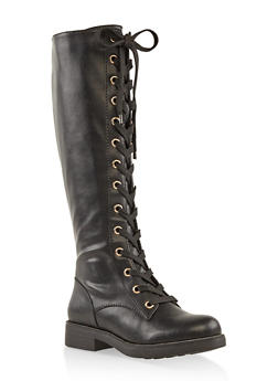 Tall Lace Up Combat Boots - Black - Size 7 - 3116004060863