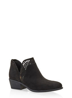 Laser Cut Ankle Booties - BLACK SUEDE - 3116004062343