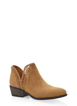 Laser Cut Ankle Booties - CAMEL S - 3116004062343