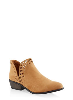Laser Cut Ankle Booties - TAN S - 3116004062343
