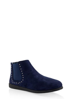 Studded Ankle Booties - NAVY - 3116004062747