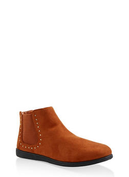 Studded Ankle Booties - CHESTNUT - 3116004062747