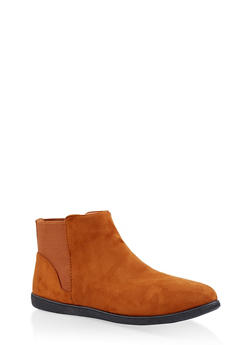 Elastic Trim Ankle Booties - CHESTNUT - 3116004062748