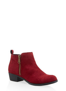 Side Zip Booties - WINE - 3116004062867