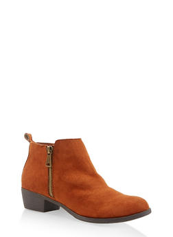 Side Zip Booties - CHESTNUT - 3116004062867