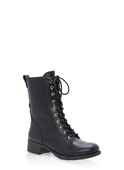 Lace Up Combat Boots - BLACK - 3116004063473
