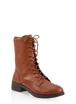 Lace Up Combat Boots - COGNAC - 3116004063473