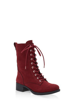 Lace Up Combat Boots - BURGUNDY - 3116004063473