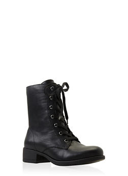 Lace Up Combat Boots - BLACK - 3116004063474