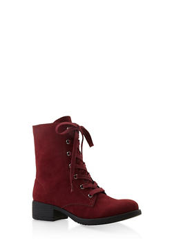 Lace Up Combat Boots - WINE - 3116004063474